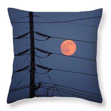 Electric Moon Throw Pillow