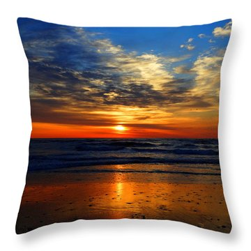 Electric Golden Ocean Sunrise Throw Pillow