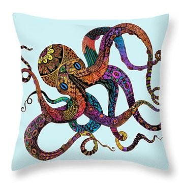 Electric Octopus - Customizable Background Throw Pillow by Tammy Wetzel