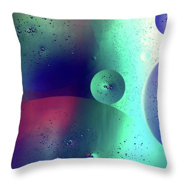 Throw Pillow featuring the photograph Electric Oil Droplets Number One by John Williams