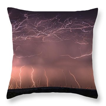 Electric Panoramic V Throw Pillow