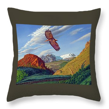 Electric Peak With Hawk Throw Pillow
