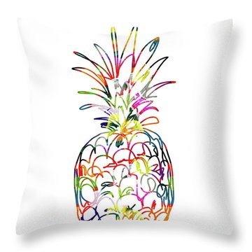 Electric Pineapple - Art By Linda Woods Throw Pillow