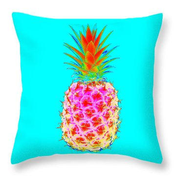 Electric Pineapple Throw Pillow