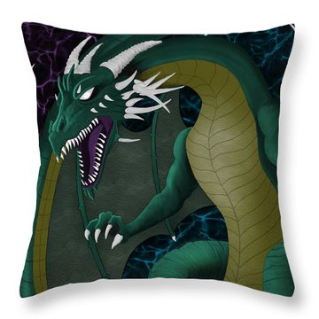 Electric Portal Dragon Throw Pillow