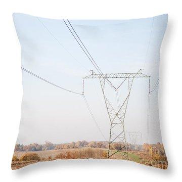Electric Power Transmission Or Power Grid Pylon  Throw Pillow
