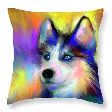 Electric Siberian Husky Dog Painting Throw Pillow
