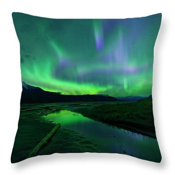 Electric Skies Over Jasper National Park Throw Pillow by Dan Jurak