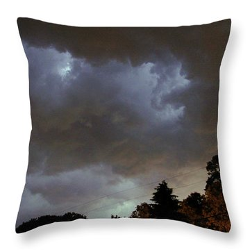 Electric Sky Of Faces Throw Pillow