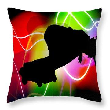 Electric Spectrum Skateboarder Throw Pillow by Elaine Plesser