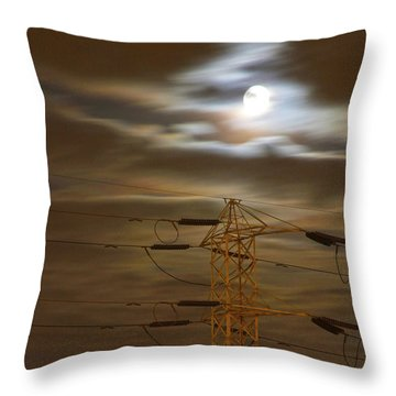 Electric Tower Under Supermoon Throw Pillow