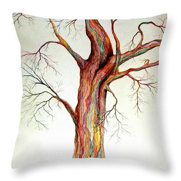 Electric Tree Throw Pillow