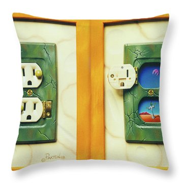 Electric View Miniature Shown Closed And Open Throw Pillow