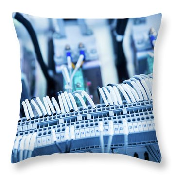 Electric Wires Attachment. Railway Industry Throw Pillow