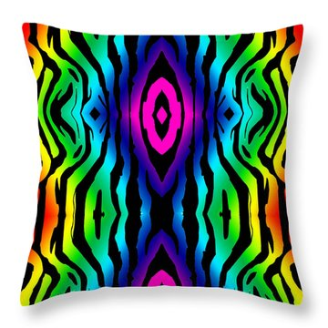 Electric Zebra Black Throw Pillow