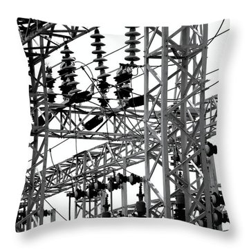 Throw Pillow featuring the photograph Electrical Substation With Large Insulators by Yali Shi