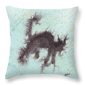 Throw Pillow featuring the painting Electricat by Marc Philippe Joly