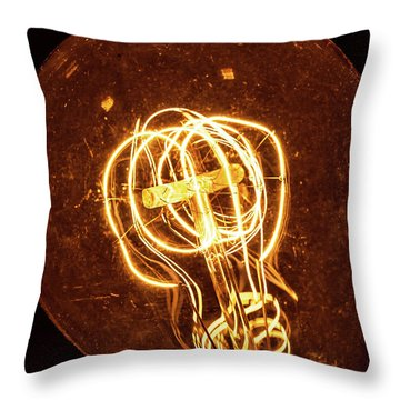 Throw Pillow featuring the photograph Electricity Through Tungsten by T Brian Jones
