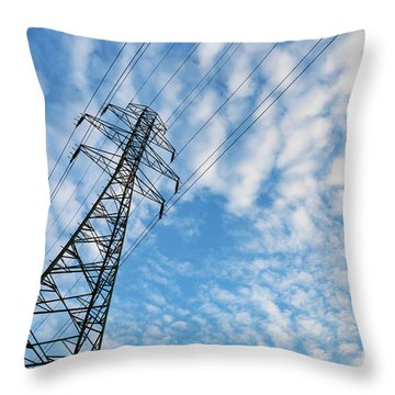 Electricity Transmission Pylon Against Blue Sky With Fluffy Clouds Throw Pillow