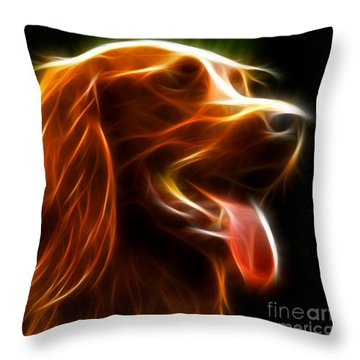 Electrifying Dog Portrait Throw Pillow by Pamela Johnson