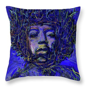 Throw Pillow featuring the mixed media Electrifying Hendrix by Eduardo Tavares