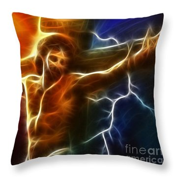 Electrifying Jesus Crucifixion Throw Pillow by Pamela Johnson