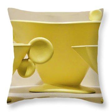 Elegant 1950s Ceramic Cups Throw Pillow