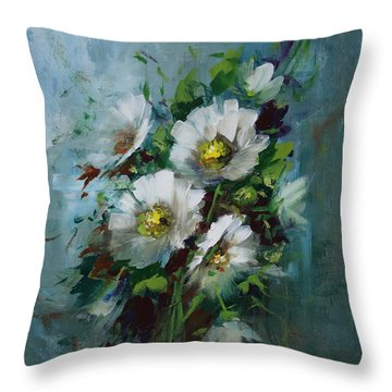 Elegant Blossoms Throw Pillow by David Jansen