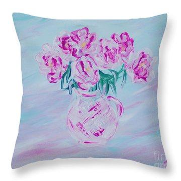 Elegant Bouquet Of Peonies. Joyful Gift. Thank You Collection Throw Pillow