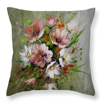 Elegant Flowers Throw Pillow by David Jansen