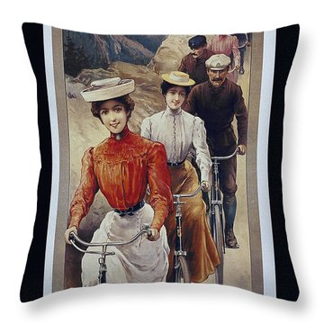 Elegant Fongers Vintage Stylish Cycle Poster Throw Pillow
