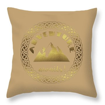 Throw Pillow featuring the digital art Elegant Gold Foil Adventure Awaits Typography Celtic Knot by Georgeta Blanaru