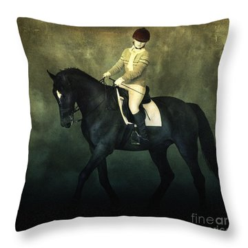 Elegant Horse Rider Throw Pillow