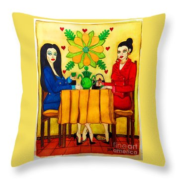 Throw Pillow featuring the painting Elegant Ladies In A Coffee-shop by Don Pedro De Gracia