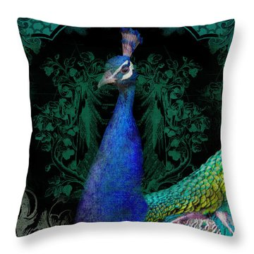 Elegant Peacock W Vintage Scrolls  Throw Pillow by Audrey Jeanne Roberts
