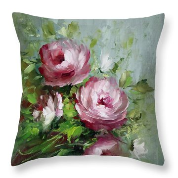 Elegant Roses Throw Pillow by David Jansen