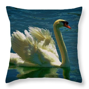 Elegant Swan Throw Pillow