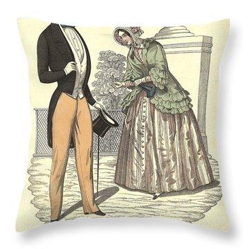 Elegant Vintage Biedermeier Fashion Throw Pillow