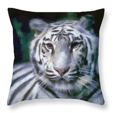 Elegant White Tiger Throw Pillow