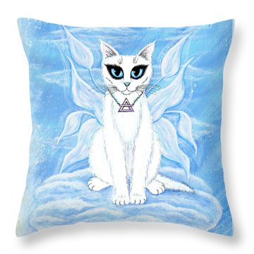 Throw Pillow featuring the painting Elemental Air Fairy Cat by Carrie Hawks