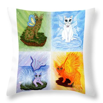 Throw Pillow featuring the painting Elemental Cats by Carrie Hawks