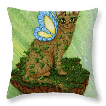Elemental Earth Fairy Cat Throw Pillow