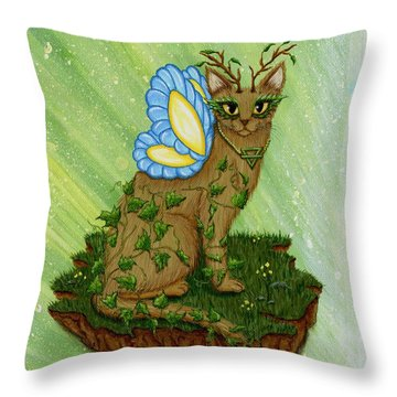 Throw Pillow featuring the painting Elemental Earth Fairy Cat by Carrie Hawks
