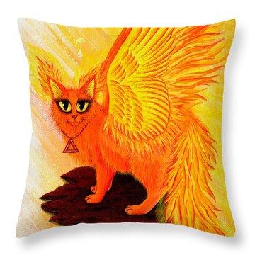 Elemental Fire Fairy Cat Throw Pillow