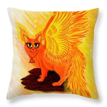 Throw Pillow featuring the painting Elemental Fire Fairy Cat by Carrie Hawks