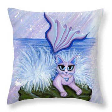 Throw Pillow featuring the painting Elemental Water Mermaid Cat by Carrie Hawks
