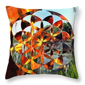 Throw Pillow featuring the digital art Elements Of Life by Derek Gedney