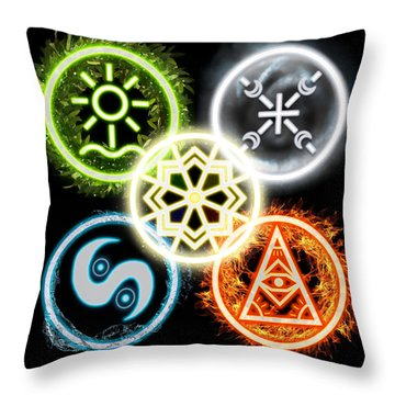 Throw Pillow featuring the digital art Elements Of Nature by Shawn Dall