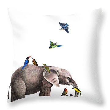 Elephant With Birds Illustration Throw Pillow