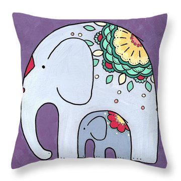 Elephant And Child - On Purple Throw Pillow